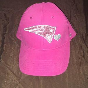Pink glitter New England Patriots hat